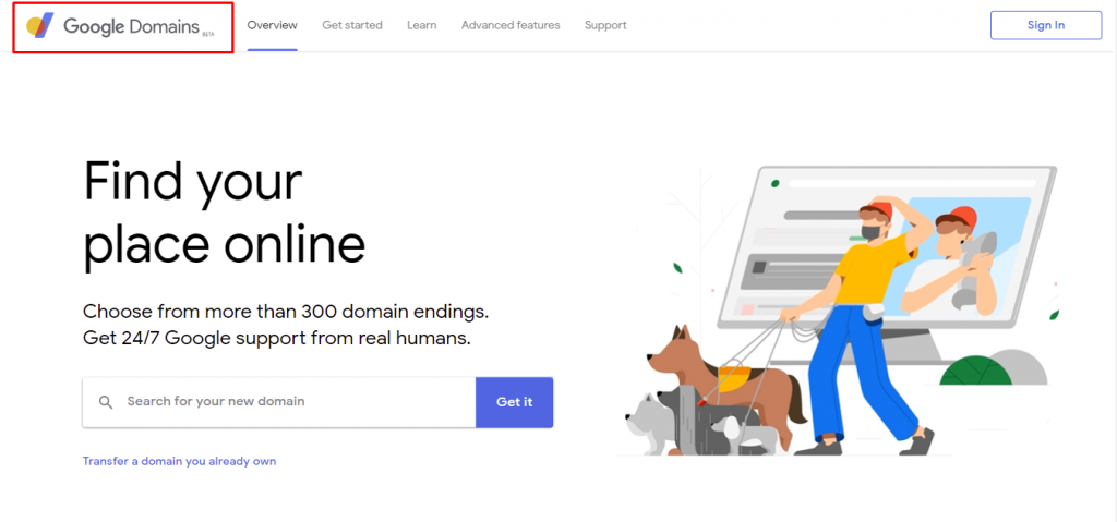 """Google Domains' main webpage. It particularly highlights the """"Beta"""" label next to its brand name."""