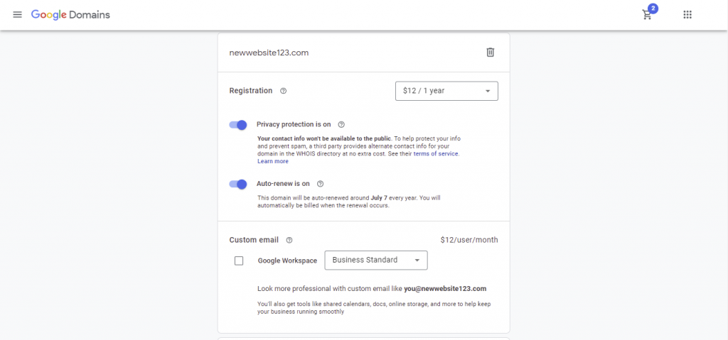 Google Domains' checkout page. User can choose the contract's duration and whether to purchase a custom email by Google Workspace.