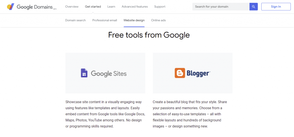 The free tools that Google Domains provide, such as Google Sites and Blogger.