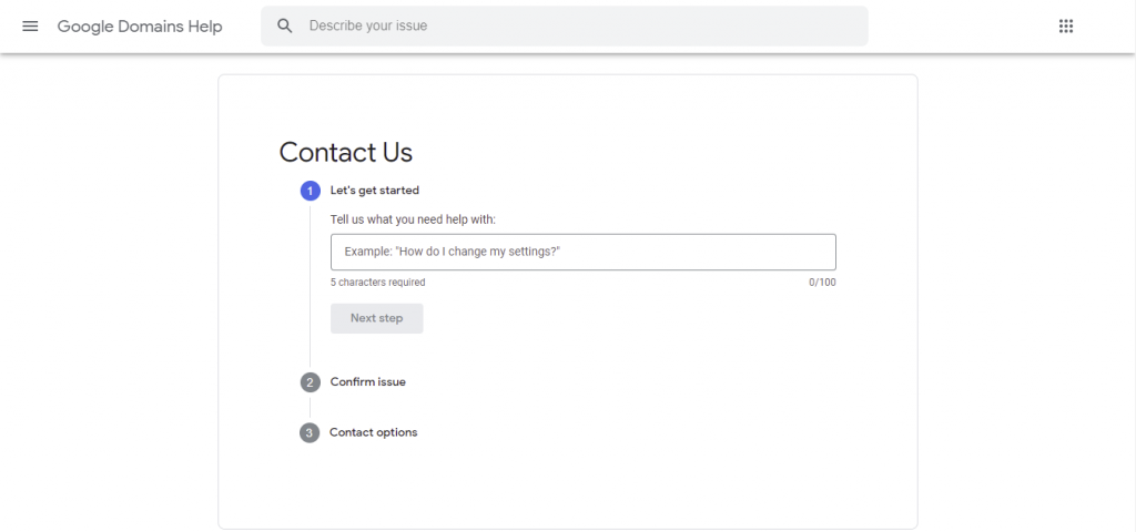 Google Domains' Help page where user can reach out to the support team.