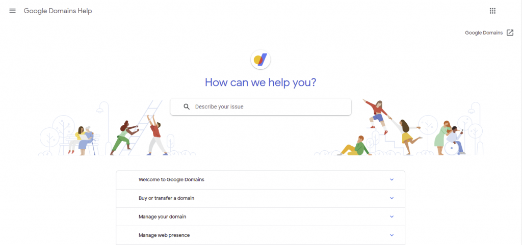 Google Domains' Support page. It provides thorough documentation on the platform and its services.