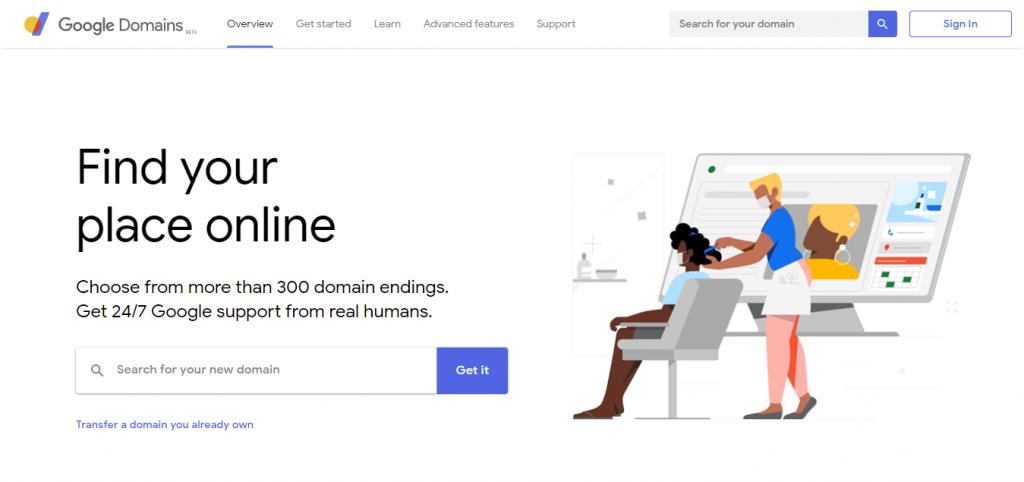 Google Domains' main webpage.