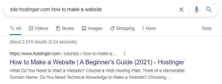 Google search query using site
