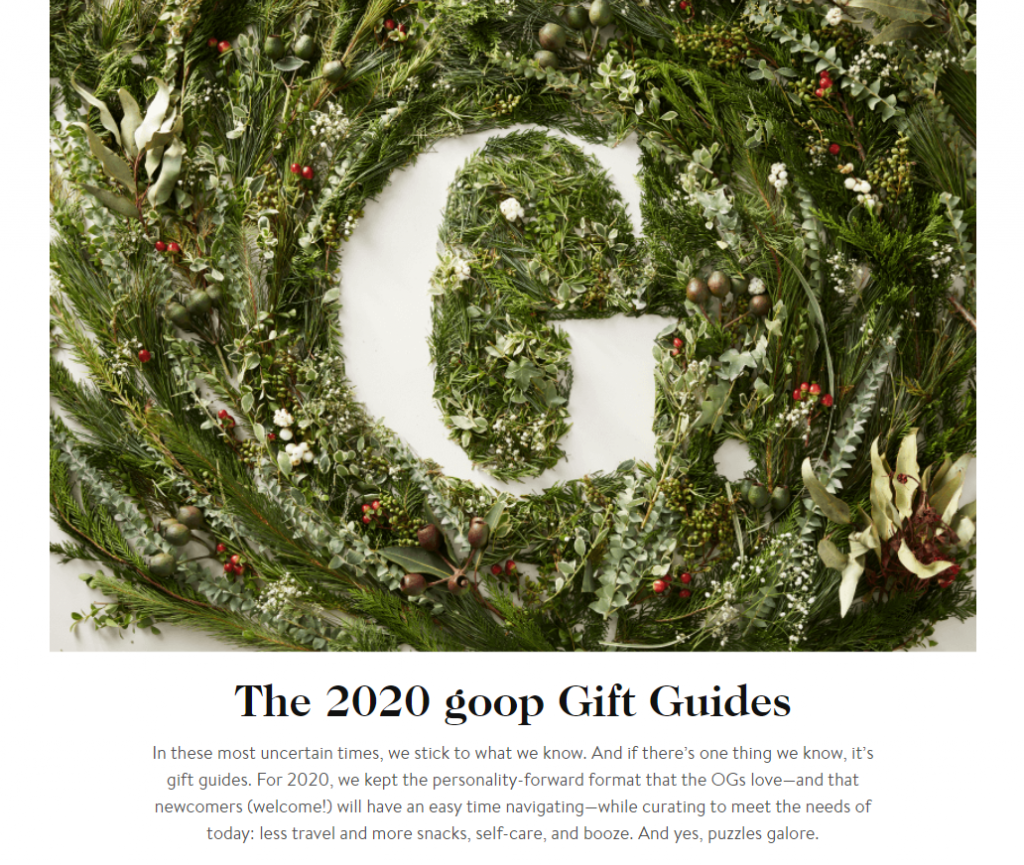 goop's 2020 gift guides.