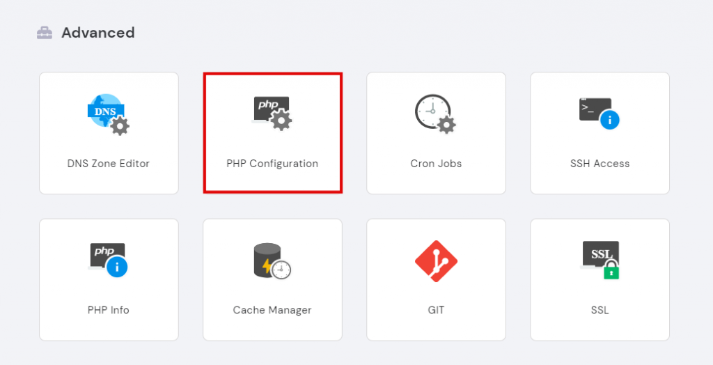Selecting PHP Configuration under the Advanced section in hPanel.