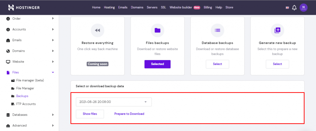 Screenshot from hPanel showing how to select which backup to download