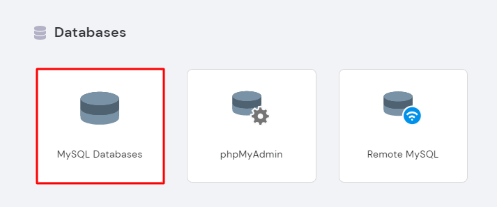 Selecting MySQL Databases under the Databases section in hPanel