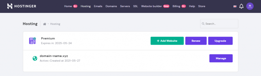 Selecting manage on your domain name in Hostinger's hPanel
