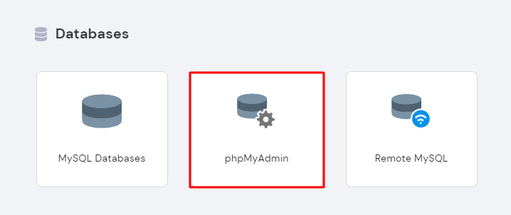 Selecting phpMyAdmin under the Databases section in hPanel