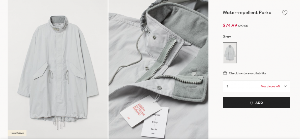 A low stock warning on H&M's online store.