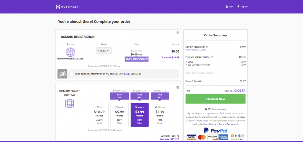 Hostinger's checkout page. It displays the domain's contract duration, order summary, and several options of hosting plans as add-ons.