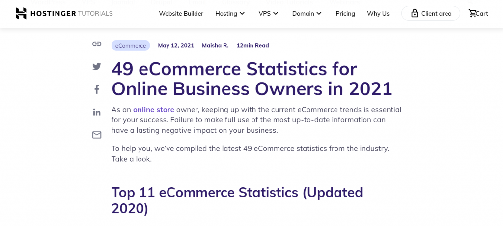 A curated content example by Hostinger that shows the latest eCommerce statistics.