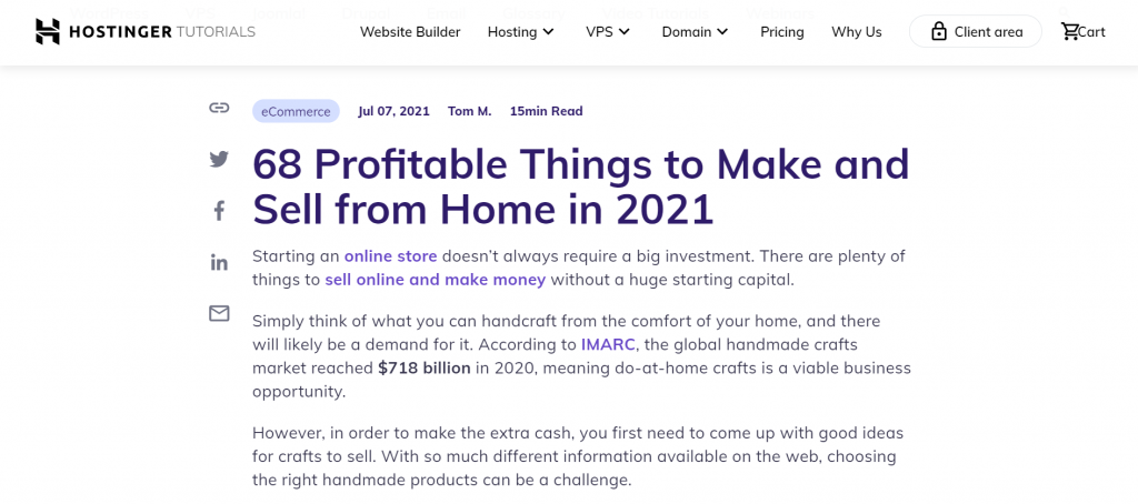 Hostinger's article about profitable things to make and sell, which includes number in the headline.