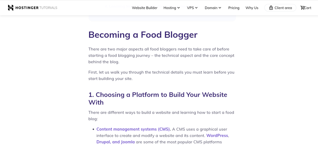Hostinger's article about how to become a food blogger.