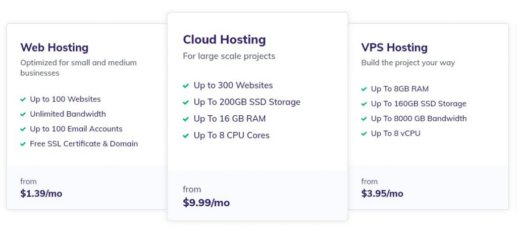 Different hosting types in Hostinger: Shared, Cloud, and VPS.