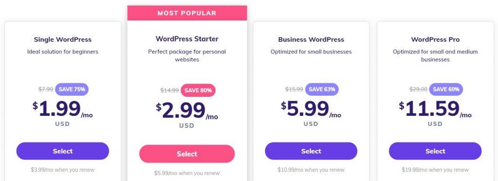 Hostinger's WordPress hosting plans,