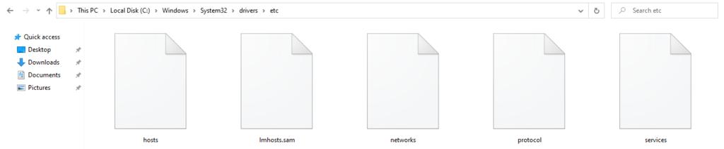 Windows folder containing the hosts file.
