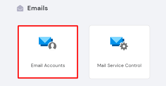 Selecting Email Accounts on hPanel.