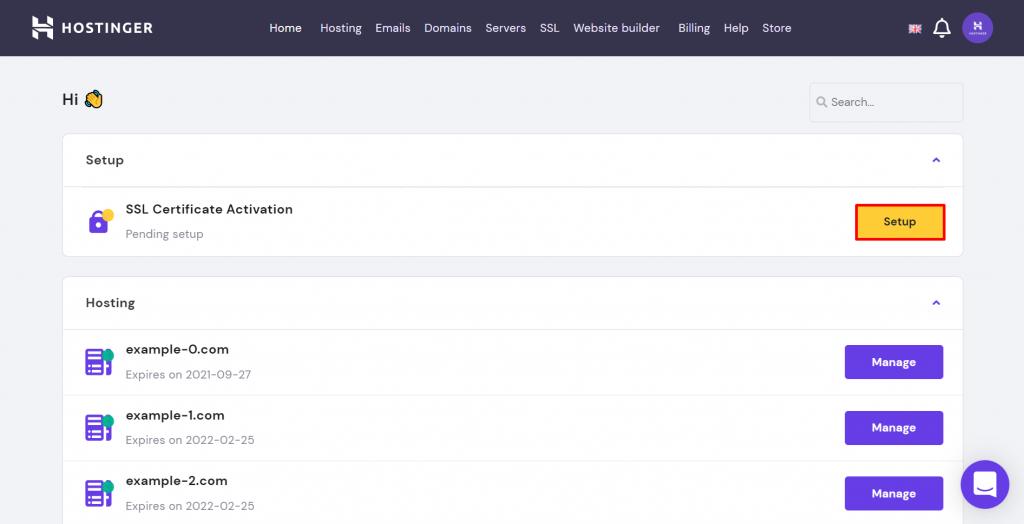 Screenshot of hPanel, Hostinger's control panel for managing web hosting.
