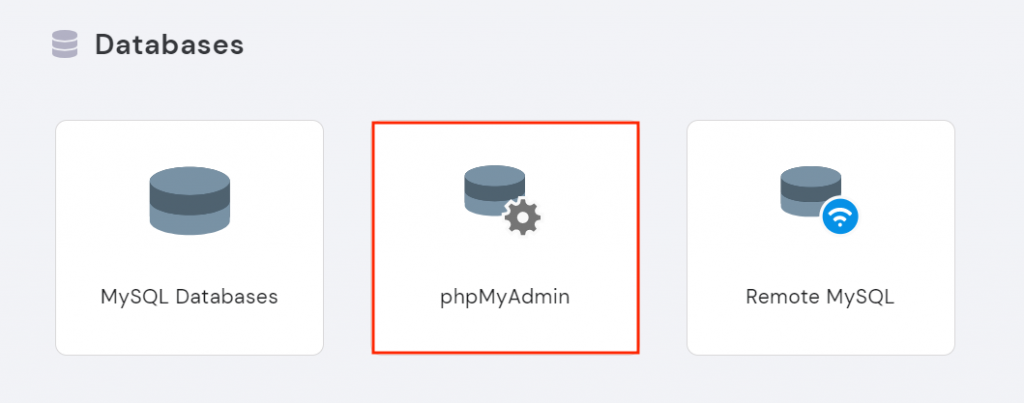 Selecting phpMyAdmin under the databases section in hPanel.