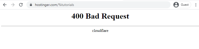 Screenshot of HTTP 400 error page
