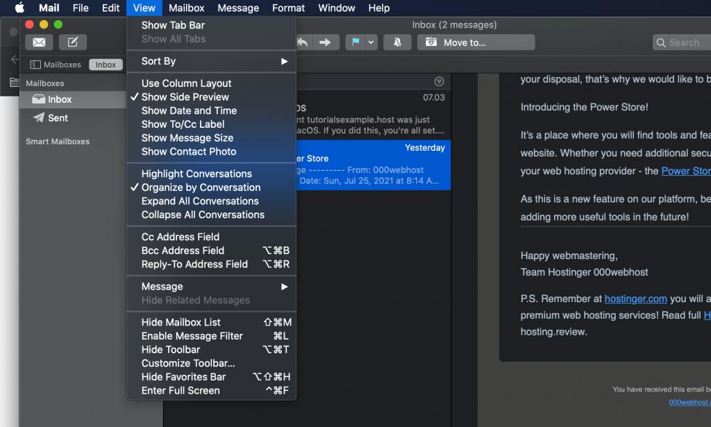 iCloud, highlighting the View tab.