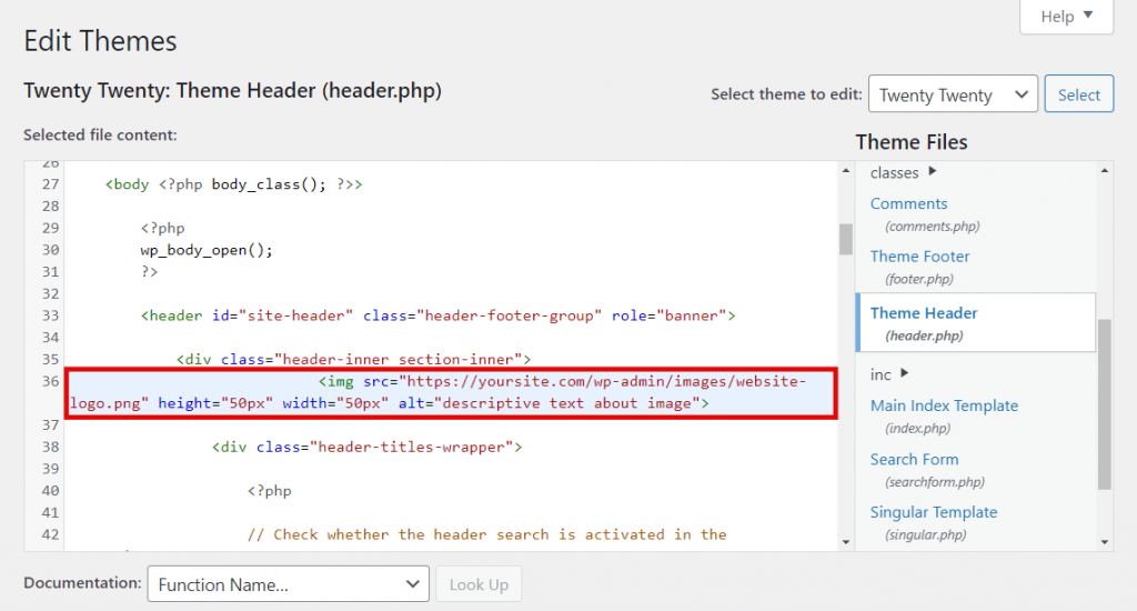 How the image code looks in the HTML body.