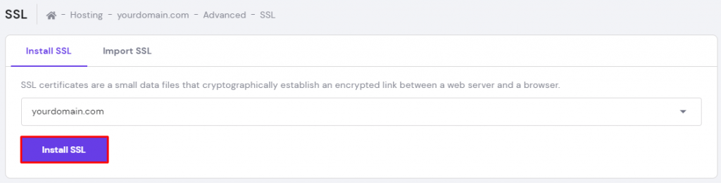 Screenshot from hPanel's SSL section showing where to click on the Install SSL button,