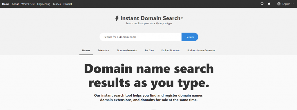 Instant Domain Search homepage.