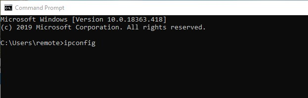 Typing ipconfig in the Command Prompt app