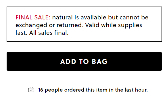 Example of time-sensitive language used on jcrew.com.