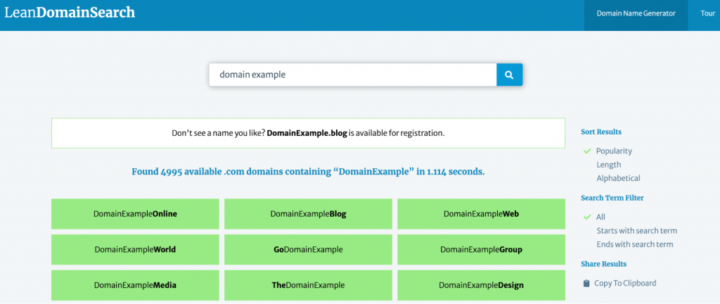 The Lean Domain Search showing available domains containing domain example,