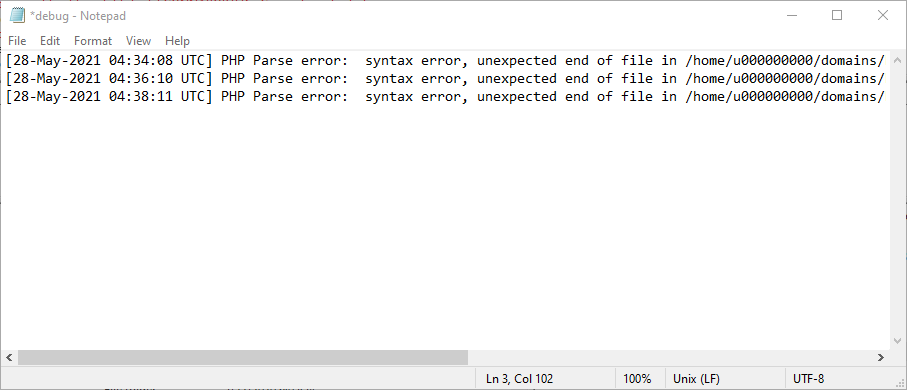List of WordPress errors and issues recorded in the error log