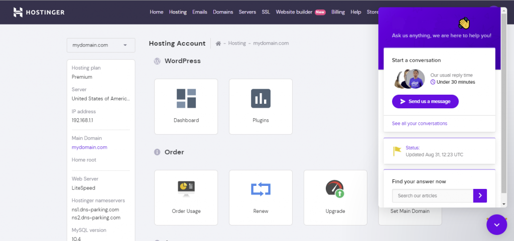 Hostinger's live chat available on hPanel.
