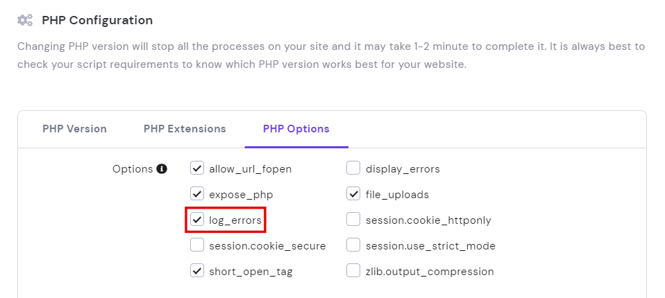 PHP configuration, highlighting the log_errors options
