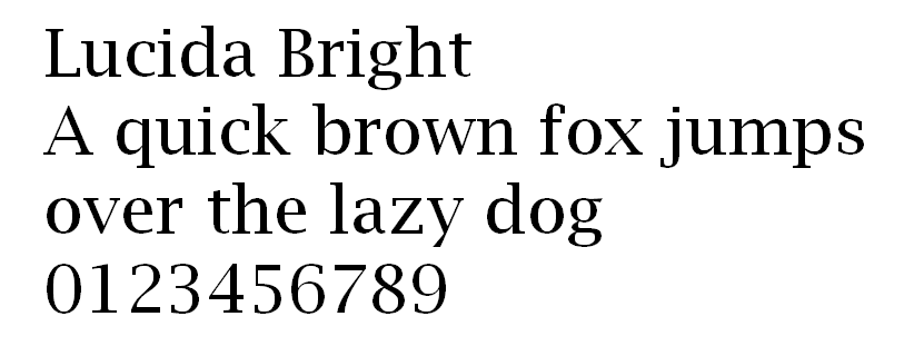 The letters and numbers of Lucida Bright.