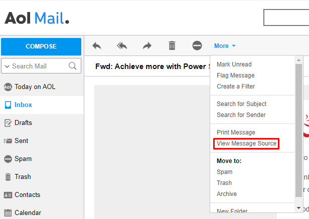 Aol Mail, highlighting View Message Source.