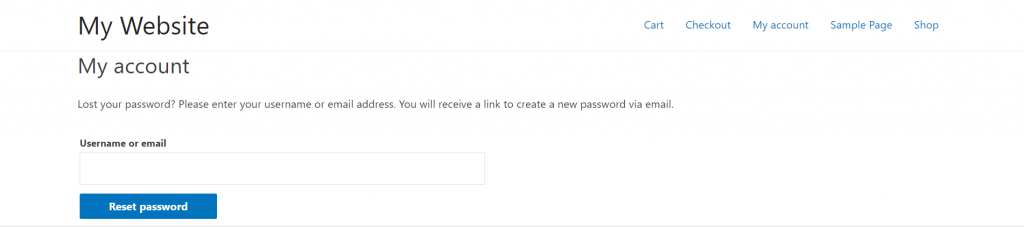 Entering your username or email address to reset your WordPress account password.