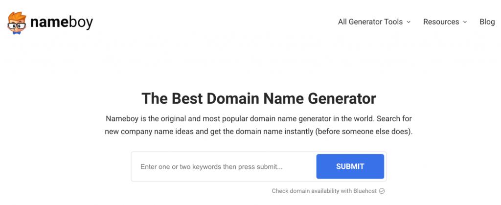 Nameboy homepage.