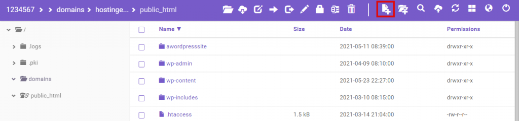 public_html folder, highlighting the New File button located on the top-bar menu