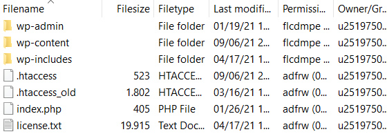 Going back to the FTP client directory to check if the new .htaccess file is there.