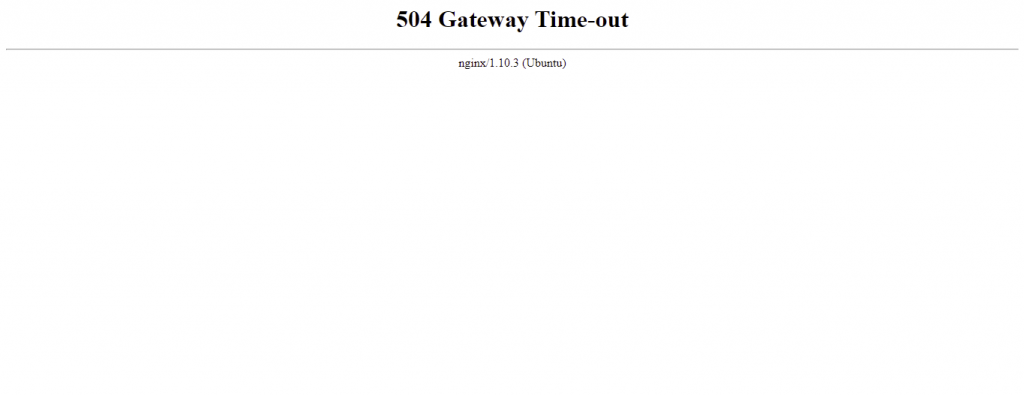 504 error page indicating the issue is related to an Nginx server error,