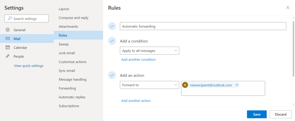 Setting the actions for a rule on Outlook.