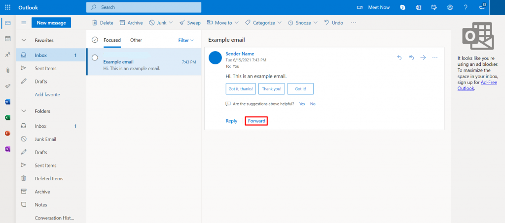 Forwarding an email message on Outlook.