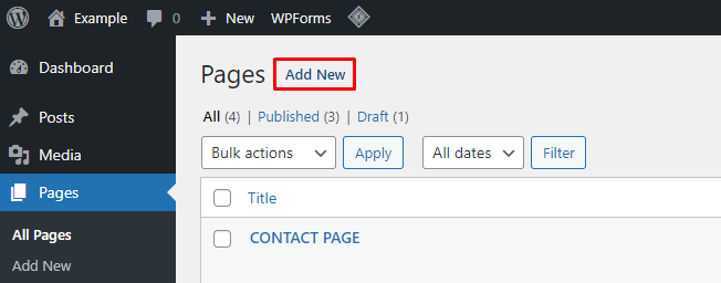Screenshot from the WordPress dashboard showing where to find Pages in the menu and click on Add New.