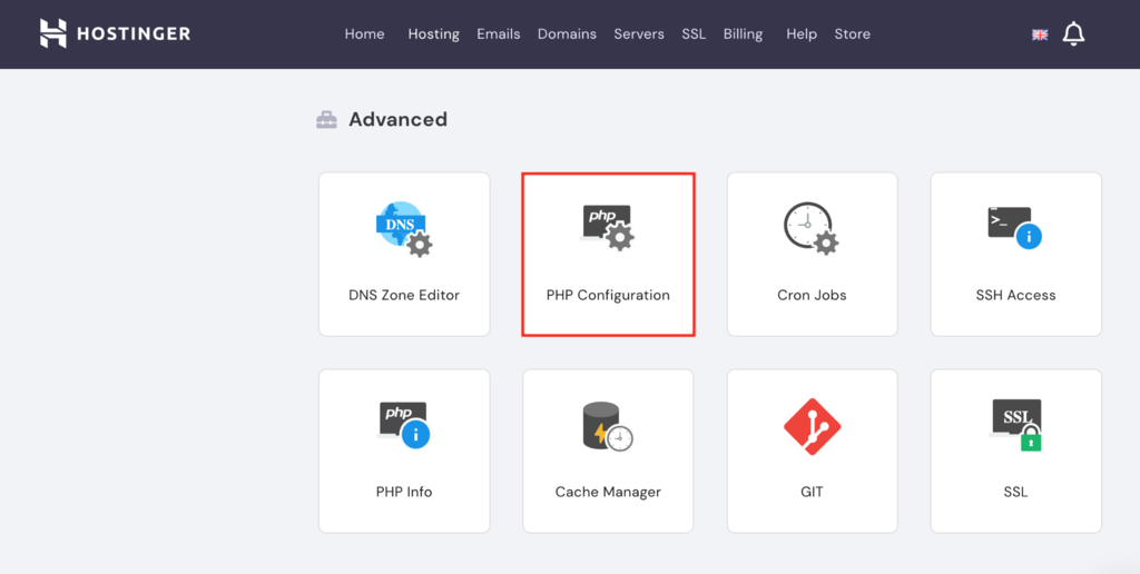 Selecting PHP Configuration settings on Hostinger's hPanel