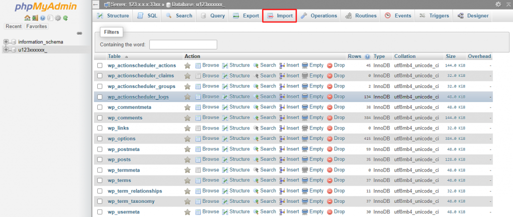 Selecting the database and clicking Import in phpMyAdmin dashboard