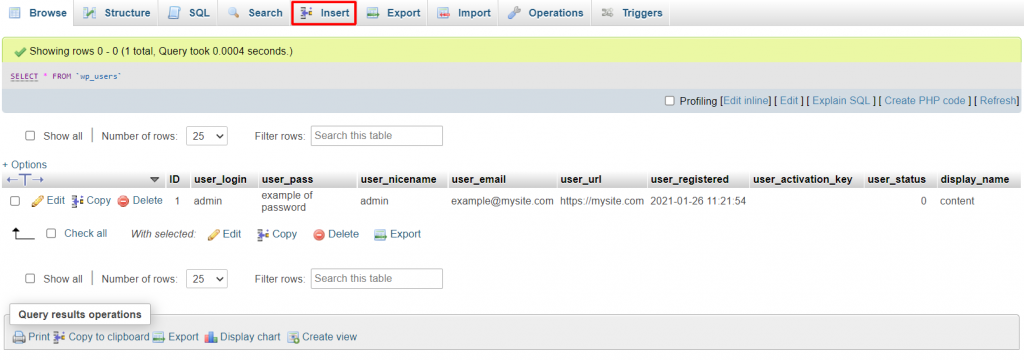 Clicking on wp_users and selecting insert in phpMyAdmin.