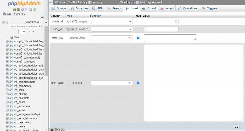Clicking wp_usermeta in phpMyAdmin.