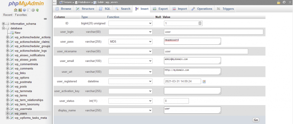 wp_users table in phpMyAdmin